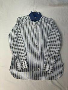 Hemd weiß mit blauen Streifen 100% Baumwolle von Lorenzini – Größe 15,5 / 39