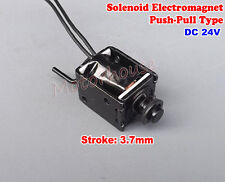 Micro Mini Push Pull Type Solenoid Electromagnet Black DC 24V for Game Machine