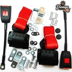Classic VW Front Pair Fully Automatic Inertia Red Seat Belt Kits E Approved