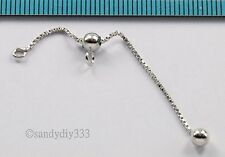 """1x RHODIUM STERLING SILVER ADJUSTABLE END CHAIN EXTENDER DOT BALL 4mm 2"""" #2704"""