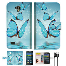 Cyan Butterfly Wallet Case Cover For HUAWEI Y5 Y560-- A019
