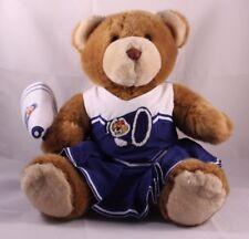 Build A Bear Cheerleader Teddy Bear w Blue and White Skirt Vest Megaphone