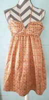 BCBGeneration Dress Sz 4 Pink Orange Geo Print Adj Spaghetti Strap Empire Waist