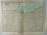 Original 1897 Map of Northern Ohio by The Century Company. Antique