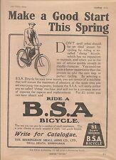 BSA Small Heath Birmingham Bicycle Good Start This Spring 1914 Vintage Advert