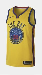 "RARE STEPHEN CURRY GOLDEN STATE WARRIORS ""THE BAY"" NBA CITY EDITION SZ US XL/52"