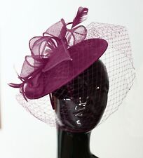 ecf43f44 Saucer Sinamay Headband Fascinator Wedding Ascot Hat Hatinator Birdcage Veil