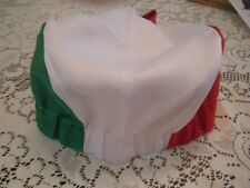 Italian Skull Cap Baker Chef Cook Hat With Red White & Green-Italy Colors-New