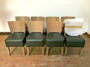 SET OF 8 DINING CHAIRS / WOOD BACK / BROWN FAUX LEATHER / RESTAURANT QUALITY