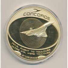 Médaille Concorde - Dernier Vol vers Toulouse - cuivre doré - 70mm