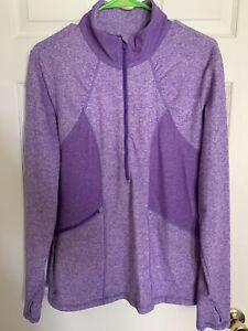 ATHLETA - 1/2 Zip Pullover Athletic Sweater - Heathered Purple - Women's XL