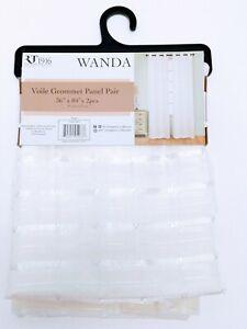 "Wanda - Voile 36"" x  84"" Grommet Curtain Panel Pair (2), Beige"