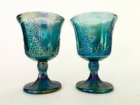 Pair Vintage Iridescent Blue Indiana Carnival Glass Goblet / Cup - Harvest Grape