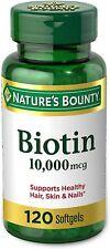 10000 mcg 120 Rapid Release Softgels Biotin Metabolism Energy Healthy Hair Skin