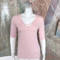 Michael Stars Pale Blush Pink Supima Cotton Slub Lace Up Blouse Top OS One Size