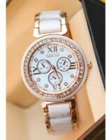 Watch Crystal Quartz Gold Plated White American Diamond Chronometer Lady Gift BS