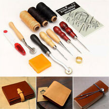 13Pcs Leather Craft Sewing Stitching Needles Thread Awl Handmade Repair Tool Set
