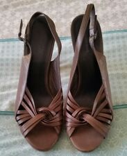 COUNTRY ROAD Brown Sling Back Heels Platform All Leather Shoes Timber Size 40 B7
