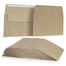 100 Pack, Size A7 Brown Kraft Paper Envelopes Self Sealing Adhesive Stationery