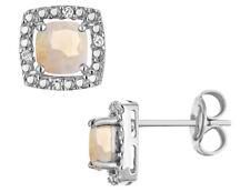 Pendientes de ópalo creado con diamantes en plata