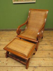 Vintage British Colonial Style Teak & Cane Plantation Chair & Footstool
