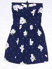 Abercrombie Kids XL Navy Blue Floral Sweetheart Strapless Dress