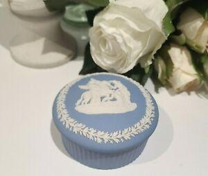 Beautiful Blue Wedgewood Jasperware Lidded  Trinket Pegasus Grecian style