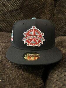 Texas Rangers 40th Anniversary Black Grey UV New Era 7 3/8 Brand New