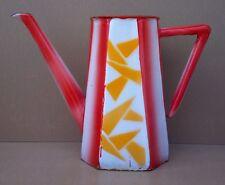 Ancien cafetière émaillée OCTOGONALE rouge orange vintage enamelled coffee pot