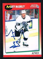 Marty McSorley #217 signed autograph 1991-92 Score Hockey Canadian Release Card