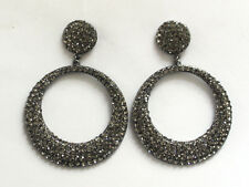 Butler and Wilson Pewter Crystal Small Flat Hoop Earrings NEW