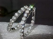 4.08CT ROUND BRILLIANT DIAMOND HOOP EARRINGS 10.3Gr 14K GOLD * SEE X-MAS OFFER *