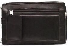 Genuine Leather Executive Unisex SHOULDER BAG Organizer BLACK # 3132