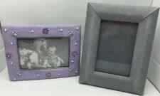 Lot of 2 Moire Silk Decorative Photo Picture Frames