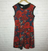 London Times women's size 14 Red and Navy Floral A-Line Dress