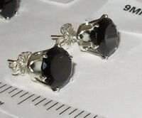 GENUINE BLACK SPINEL STUD EARRINGS STERLING SILVER 100% NATURAL GEMS PICK A SIZE