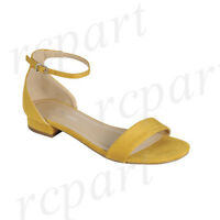 New women's shoes open toe buckle closure low heel fashion wedding Mustard