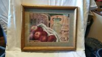 Framed Dairy Farm Country Print Fresh Milk Apples & Basket