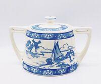 """Vtg Hand Painted Blue Cream Seaside Motif Floral Border Sugar Bowl~Lid 6""""L 3.5""""H"""