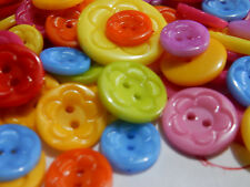 100 buttons Craft Scrapbooking Colours Bulk Flat Round Flower Pattern 12.5~25mm