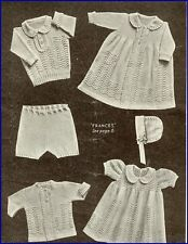 Vintage Baby Knitting Pattern LACY  copy 6 piece Layette  in 3 Ply