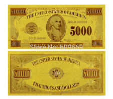 5000$ FIVE THOUSAND US DOLLARS BANKNOTE GOLD FOIL 24K