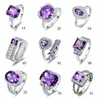 Free Jewelry Box Gift Amethyst 100% 925 Sterling Silver Ring Size L½ N½ P½ R½ T½