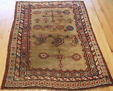 "Antique 1860s Tribal Kurish Camel-Hair Wool Handmade Oriental Rug 3'7"" x 5'"