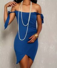 WOMEN SEXY ROYAL BLUE KNOTTED OFF THE SHOULDER SLEEVE PARTY DRESS
