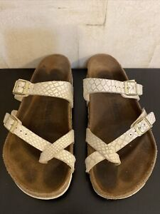 Birkenstock Sandals #250 Size 37 Pearl Shiny Leather Criss Cross Toe