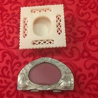 2 Small Frames - Made India Photo Frame and Fine Pewter 1918 - Easel Back