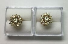 1.50ct natural (REAL) 26 - DIAMOND cluster stud earrings SOLID 18k yellow GOLD