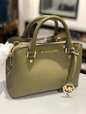 Womens Michael Kors Leather Small Satchel Crossbody Bag Handbag Purse Green Gold
