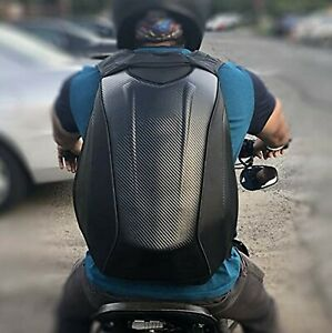 Black Opps Carbon Fiber Motorcycle Backpack Racing Riding Hard Shell Bag Cover